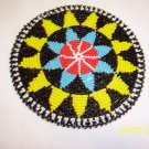 Black w/ Yellow and Light Blue Triangles Rosette - 5""