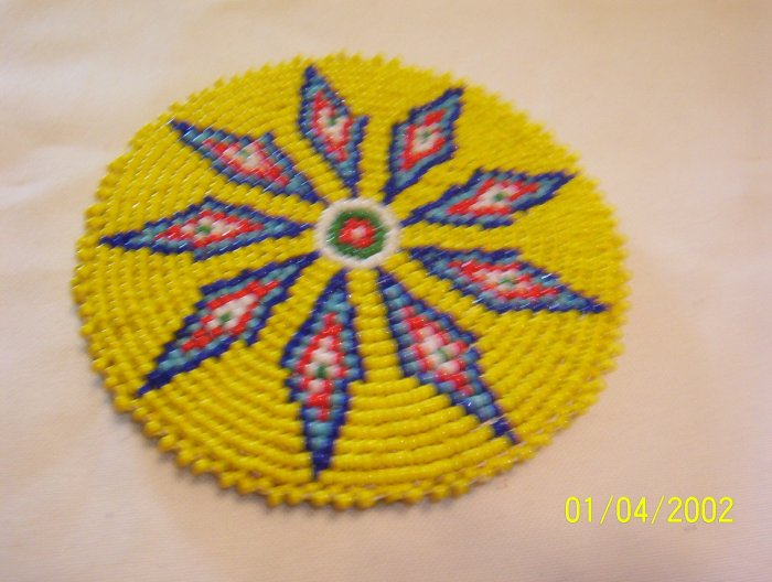 """Yellow w/ Blue, Red and White Diamonds Rosette - 4"""""""