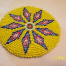 Yellow w/ Blue, Red and White Diamonds Rosette - 4""