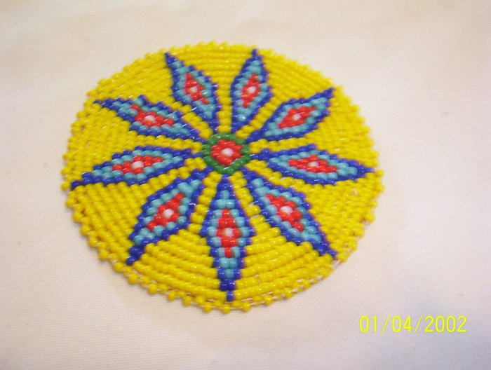 """Yellow w/ Blue, Red and White Diamonds Rosette - 3"""""""