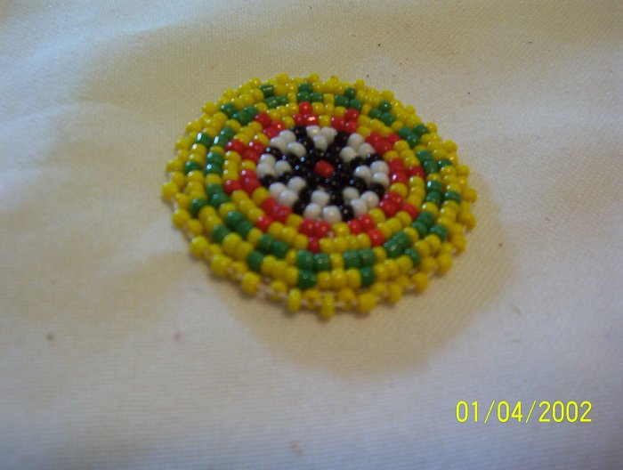 Yellow w/ Green/Red Triangles Rosette - 1 1/2""