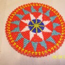 Red w/ Light Blue/White Triangles Rosette - 4""