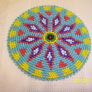Turquoise w/ Red/Blue/White Diamonds Rosette - 4""