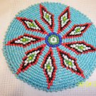 Turquoise w/ Black/Red, White Diamonds Rosette - 4""