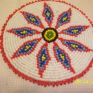 White w/ Red/Blue Diamonds Rosette - 4""