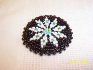 Black w/ White/Green Diamonds Rosette - 1 1/2""
