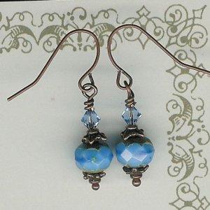Blue Glass rondelle Bead Earrings
