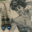Antique Brass Dark Sapphire Pearl Earrings