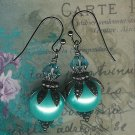 Gunmetal Aqua Berry Leaf Earrings