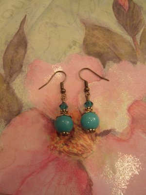 Turquoise and Antique Brass Earring