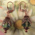 Green Fire Polished Bead and Copper Earrings