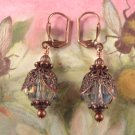 Crystal Fire Polished Bead and Copper Earrings