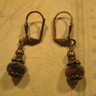 Green and Rust Picasso Bead and Antique Brass Earrings