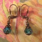 Ultra Marine and White Picasso Bead and Antique Brass Earrings