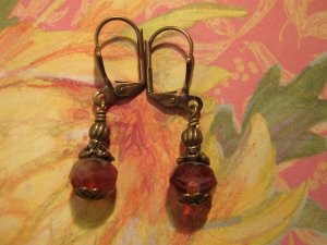 Cherry Cobbler Picasso Bead and Antique Brass Earrings
