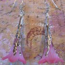 Hand Dyed Strawberry Fields Trumpet Flower Earrings in Silver Plate