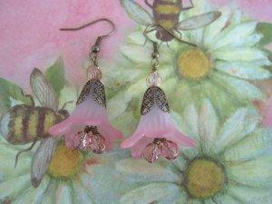 Wine and Roses Flower Earrings