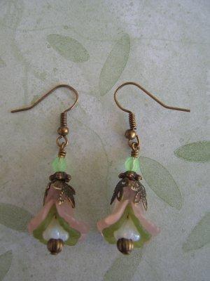 Peach Green Double Ruffle Flower Earrings
