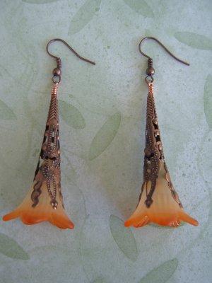 Hand Dyed Blazing Fire Trumpet Flower Earrings in Copper