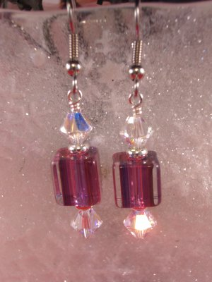 David Christensen Glass Earrings Purple and Crystal