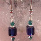 David Christensen Glass Earrings Navy Blue and Green