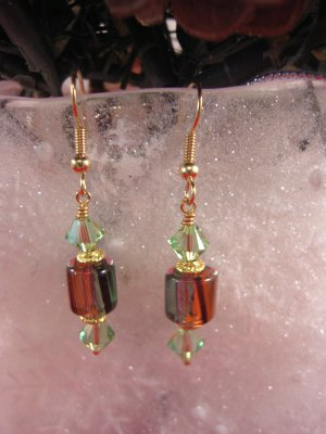 David Christensen Glass Earrings Peridot,Purple,Black,Orange