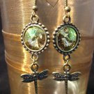 Luminous Green brass Rivoli Dragonfly Earrings