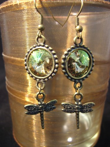 Luminous Green brass Rivoli Dragonfly Earrings