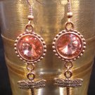 Rose Peach Copper Rivoli Dragonfly Earrings