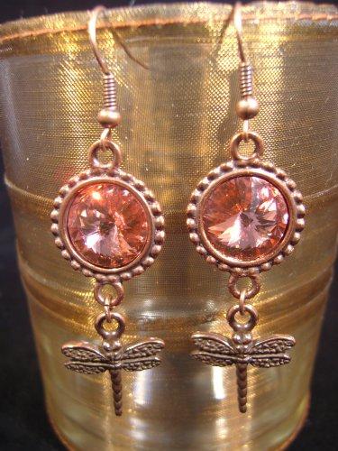 Rose Peach Copper Rivoli Dragonfly Earrings