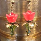 Red Lovely Lucite Flower Earrings