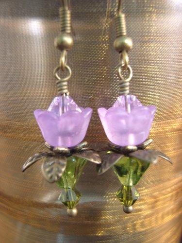 Purple lovely Lucite Flower Earring