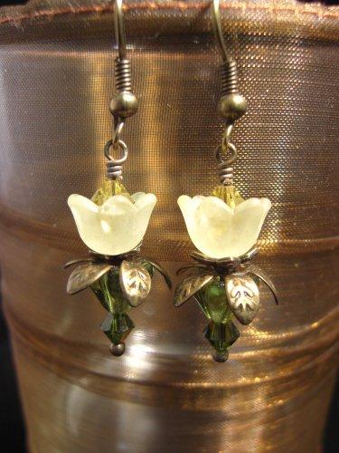 Yellow lovely Lucite Flower Earring