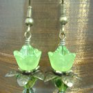 Green lovely Lucite Flower Earring