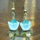 Blue Zircon lovely Lucite Flower Earring