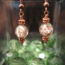 Murano Glass bead in Copper and White Earring