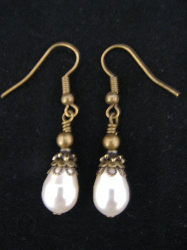 Vintage Swarovski White Pearl and Brass Earring
