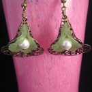 Vintage Brass Filigree Earring with Green Lucite Flower and Pearl