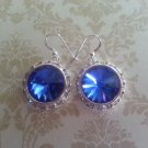 18mm Sapphire Swarovski Crystal Rivoli Earring  Sterling Silver