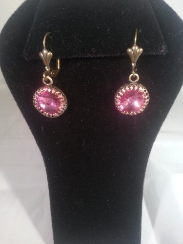 Rose Dangle Swarovski Crystal Earrings-Handmade