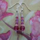 Fuchsia Swarovski Crystal Earrings Handmade