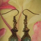 Green Adventurine and Brass Earring Handmade