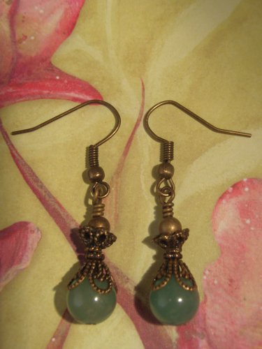 Green Adventurine and Brass Earring Handmade