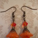 Vintage Orange Swarovski Crystal Dangle Earrings