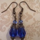 Cobalt Blue Vintage Style Dangle Earrings