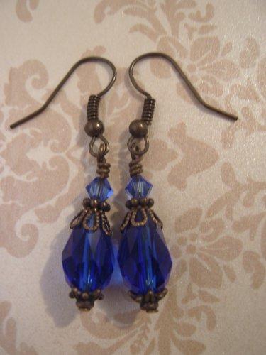 Cobalt Blue Vintage Style Dangle Earrings