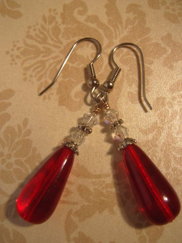 Ruby Red Czech Glass Dangle Earrings