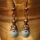 Vintage Swarovski Jade Pearl and Brass Earring