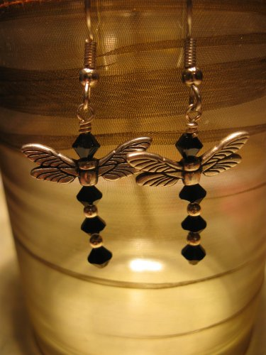 Swarovski Crystal and Pewter Dragon Fly Earrings