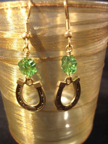 Lucky Horseshoe and 4 Leaf Clover Swarovski Green Crystal Earrings